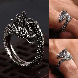 ドラゴンリング 指輪 龍 フリーサイズ