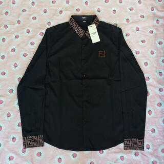 FENDI - 刺繍ロゴ フェンディ シャツ 黒