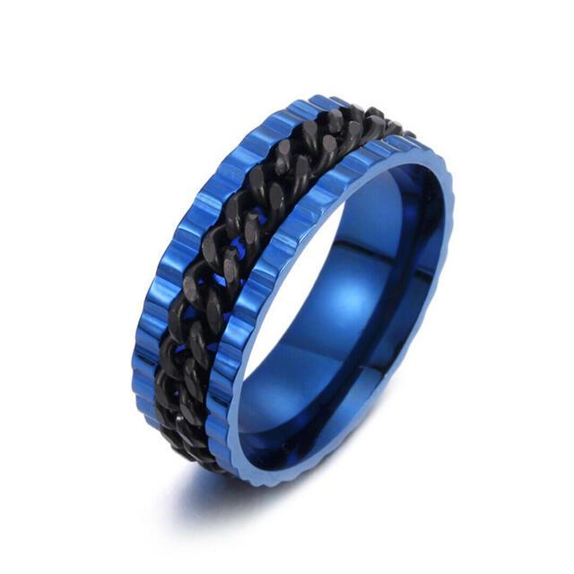 特価!ブラックチェーンのブルーステンレスリング 15、16号相当 メンズのアクセサリー(リング(指輪))の商品写真