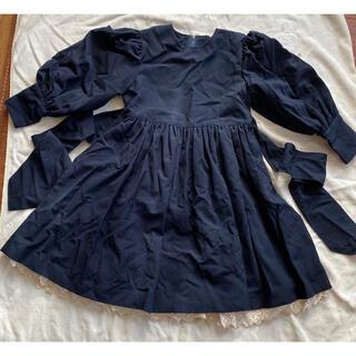 シャーリーテンプル(Shirley Temple)のシャーリーテンプル 濃紺レース ワンピースドレス 120 発表会 卒業式 入学式(ドレス/フォーマル)