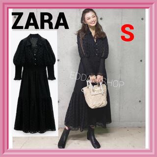 ZARA - 完売品 ZARA スイスドット柄ミディ丈ワンピース レース 水玉 黒 x