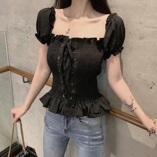 【再入荷】フリーサイズ 韓国   トップス 可愛い  レディース 夏服  秋服
