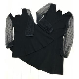 プティマイン(petit main)のsnidel 親子セットアップコーデ 白襟付きホワイトカラーワンピース(ドレス/フォーマル)