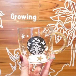 Starbucks Coffee - スターバックス ホリデー ビーズハンドル 耐熱グラスマグスター クリスマス