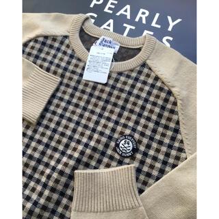 パーリーゲイツ(PEARLY GATES)の新品 パーリーゲイツ ジャックバニー チェック柄セーター(5) L ベージュ(ウエア)