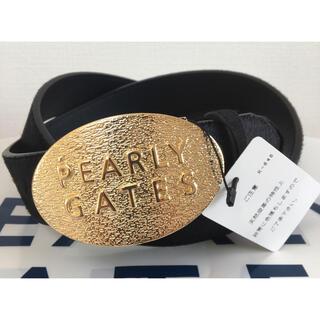 パーリーゲイツ(PEARLY GATES)の新品 パーリーゲイツ ゴールドバックル レザー(牛革)ベルト 黒 記念モデル(ウエア)