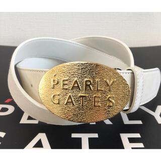 パーリーゲイツ(PEARLY GATES)の新品 パーリーゲイツ ゴールドバックル レザー(牛革)ベルト 白 記念モデル(ウエア)