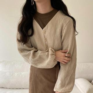 lawgy cotton short cardigan beige(カーディガン)