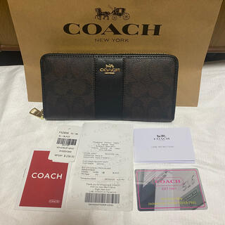 COACH - 【新品】コーチ シグネチャー 本革 ラウンドファスナー長財布 ブラウン