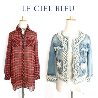 ルシェルブルー(LE CIEL BLEU)の美品♥2点セット【ルシェルブルー】パールデニムジャケット◆シアーチェックシャツ(セット/コーデ)