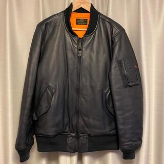 uniform experiment - uniform experiment レザーMA-1 紺 XL