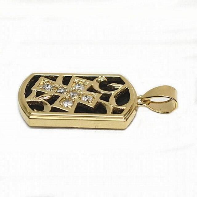 【新品未使用】K18 ゴールド ネックレス クロス プレート ダイヤモンド メンズのアクセサリー(ネックレス)の商品写真