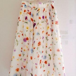 Lily Brown - 花柄 フレアスカート フラワー  シフォンスカート