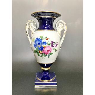 meissen マイセン 花瓶 花器 最上級絵付け フラワーブーケ コバルト 金