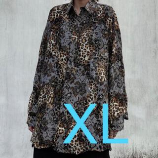 唐草模様✖️豹柄 シャツ ストリート モード系 韓国 XLサイズ