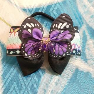 鬼滅の刃風 リボン ヘアゴム ハンドメイド しのぶ 紫×黒