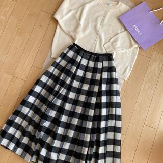 Drawer - 美品♡OBLI♡ウールチェックスカート ブラック