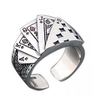 ポーカーリング スクエアフラッシュ トランプ メンズ レトロ ヴィンテージ 指輪