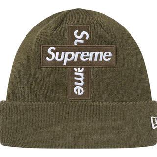 シュプリーム(Supreme)のsupreme Cross Box Logo Beanie オリーブ(ニット帽/ビーニー)