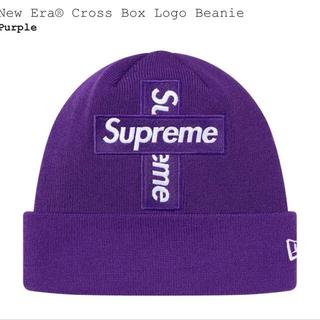 シュプリーム(Supreme)の  Cross Box Logo Beanie  purple supreme(ニット帽/ビーニー)