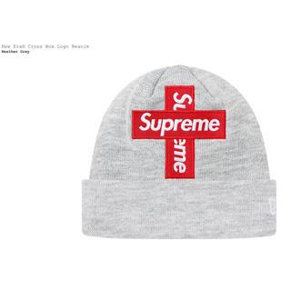 シュプリーム(Supreme)のNew Era Cross Box Logo Beanie グレー 新品(ニット帽/ビーニー)