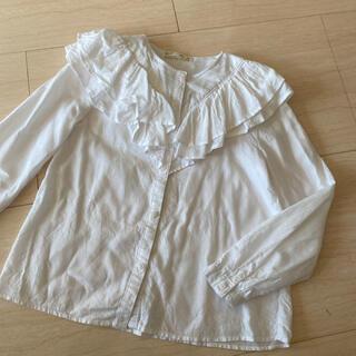 ZARA KIDS - ザラキッズ ZARAkids 白シャツ ブラウス 140 襟ふりふり 長袖シャツ