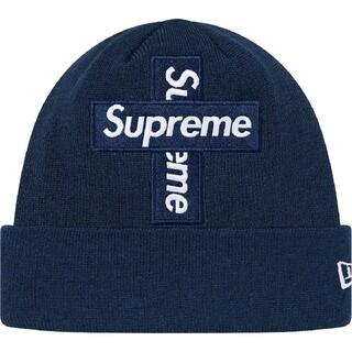 シュプリーム(Supreme)のsupreme ニューエラ クロス ボックス ロゴ ビーニー ネイビー NAVY(ニット帽/ビーニー)
