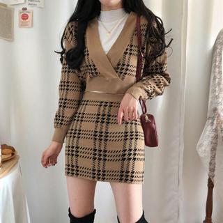 STYLENANDA - 【予約商品】《2カラー》チェック vネック セットアップ 韓国ファッション 冬服