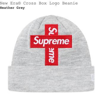 シュプリーム(Supreme)のsupremeNew Era® Cross Box Logo Beanieグレー(ニット帽/ビーニー)