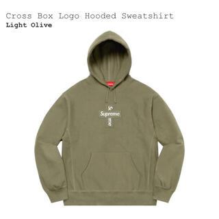 Supreme - supreme cross box logo hooded olive L