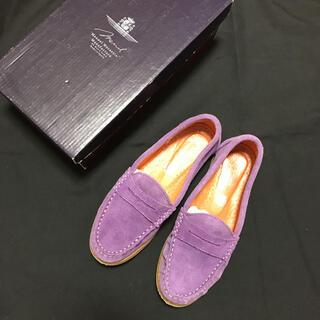 トゥモローランド(TOMORROWLAND)のラベンダーカラー スエードローファー(ローファー/革靴)