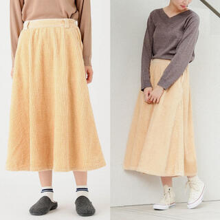 ピュアルセシン(pual ce cin)の新品 定価14300円 ピュアルセシン 日本製 コーデュロイ フレアースカート(ロングスカート)