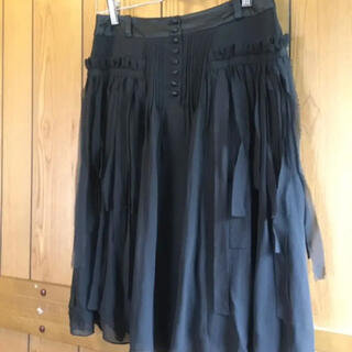 A.T★ひらひら可愛いシルク100%の黒スカート