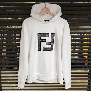 FENDI - 超美品 フェンディ マイクロメッシュ プルオーバーパーカー FFロゴ 白 M