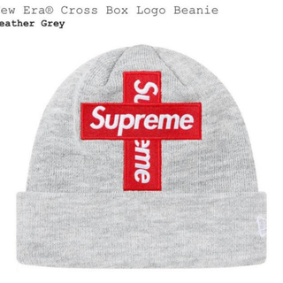 Supreme - supreme cross box logo beanie グレー