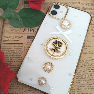 iPhone11 7.8 x xs se2対応 ラウンドゴールドケース金古美薔薇