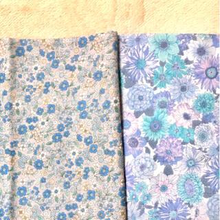 ダブルガーゼ 花柄 小花 2種類セット はぎれ ハギレ カットクロス ブルー系