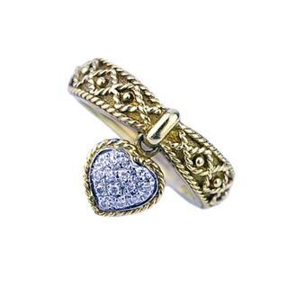 YANES ヤーネス K18 YG ハート ブラ ダイヤ 9号 リング 指輪