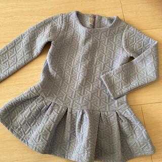 韓国子供服 トップス 水色 裾ひらひら 140