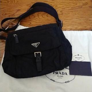 PRADA - カード有り PRADA 斜めがけ可 ナイロンレザー ショルダーバッグ ブラック