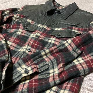 イサムカタヤマバックラッシュ(ISAMUKATAYAMA BACKLASH)のbacklash ドイツカーフレザー切替ウエスタンシャツ(シャツ)