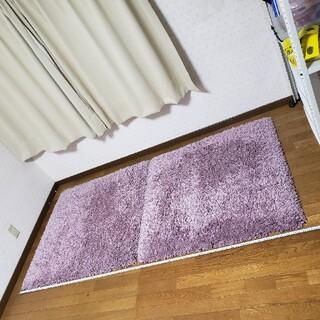 イケア(IKEA)のIKEA シャギー絨毯 100cm×100cm 2枚セット ピンク系 ベルギー製(ラグ)