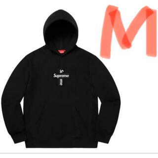 Supreme - supreme cross box logo hooded 黒M