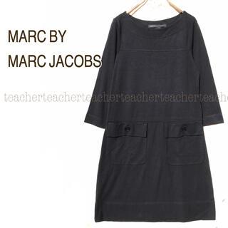 マークバイマークジェイコブス(MARC BY MARC JACOBS)のシルク ふんわり Aライン ワンピース 黒 素敵 ボートネック 絹 上質 可愛い(ミニワンピース)