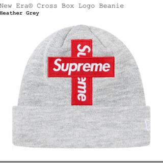 シュプリーム(Supreme)のNew Era Cross Box Logo Beanie ボックスロゴ グレー(ニット帽/ビーニー)