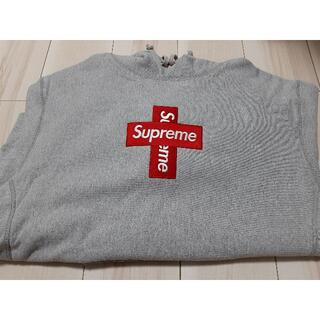 Supreme - M grey supreme Cross Box Logo Hooded