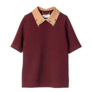 MUVEIL WORK - MUVEIL (ミュベール) ビジュー襟付き ミラノリブTシャツ