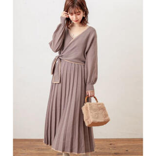 natural couture - ナチュラルクチュール WEB限定 カシュクールリボンワンピース モカ