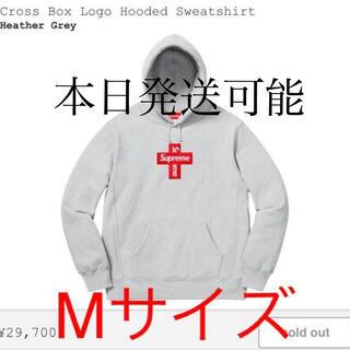 シュプリーム(Supreme)のSupreme box logo cross hooded シュプリーム グレー(パーカー)