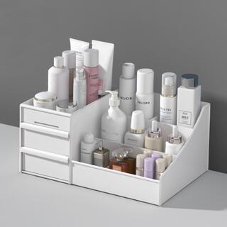 化粧品 収納 ボックス メイク コスメボックス 卓上 引出し ホワイト(メイクボックス)